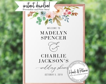 Watercolor Floral Couples Shower Welcome Sign, Wedding Shower Welcome Sign, Instant Download [id:2025607,2025706,2025742]
