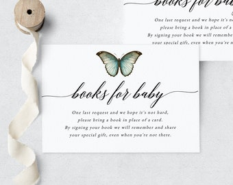 Butterfly Baby Shower Book Request Insert Card, Little Butterfly Books for Baby Insert Card, Instant Download [id:6191242]