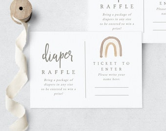Neutral Rainbow Baby Shower Diaper Raffle Insert Card, Over the Rainbow Diaper Raffle Insert, Rainbow Baby Instant Download [id:6173593]