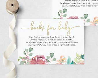 Baby in Bloom Floral Baby Shower Book Request Insert Card, In Full Bloom Books for Baby Insert Card, Instant Download [id:6314470]