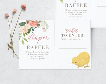 Cute Little Chick Baby Shower Diaper Raffle Insert Card, Instant Download [id:3944049]