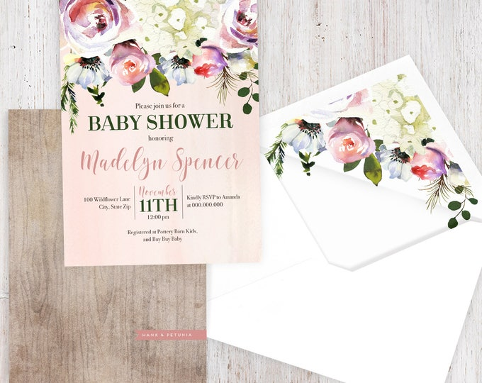 Rustic Pink Floral Baby Shower Invitation, Winter Floral Baby Shower Invitation, Baby Shower Invitation, Lined Envelopes