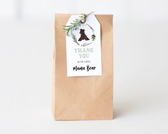Mama Bear Baby Shower Favor Tags, Bear Cub Baby Shower Gift Tags, Teddy Bear Baby Shower Decor Instant Download [id:5572209]