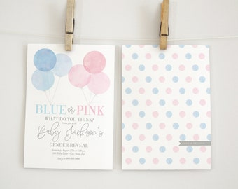 Blue or Pink Gender Reveal Invitation, Balloon Gender Reveal Invitation, Gender Reveal Party Invite, Lined Envelopes