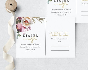 Baby In Bloom Floral Baby Shower Diaper Raffle Insert Card, Dusty Mauve Floral Diaper Raffle Ticket Insert, Instant Download [id:5337333]