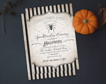 Vintage Inspired Spider Halloween Party Invitation, Adult Halloween Dinner Party Digital Invite Template Instant Download [id:4953802]