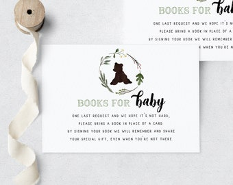Mama Bear Baby Shower Book Request Insert Card, Customizable Bear Cub Books for Baby Insert Card, Baby Bear Instant Download [id:5570952]