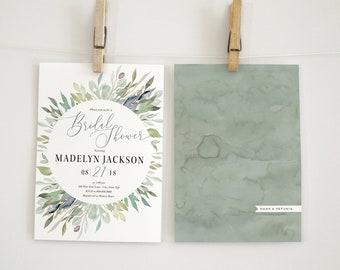 Watercolor Greenery Bridal Shower Invitation, Green Leaves Floral Bridal Shower Invitation, Bridal Shower Invite, Envelope Liner