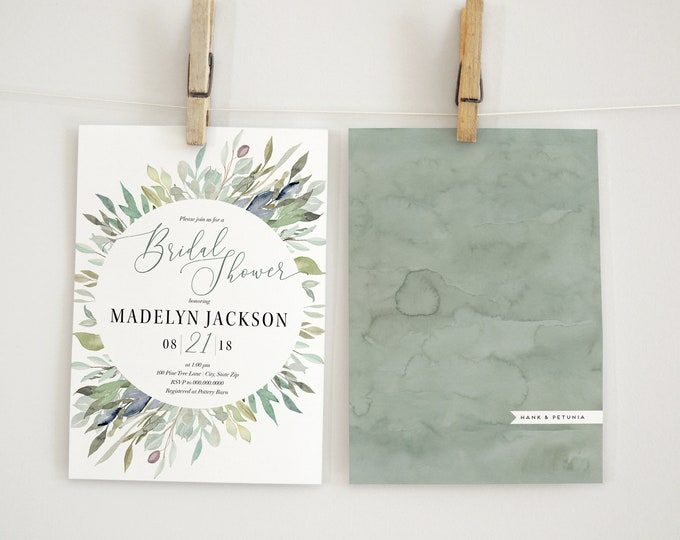 Watercolor Greenery Bridal Shower Invitation, Green Leaves Floral Bridal Shower Invitation, Bridal Shower Invite, Envelope Liner
