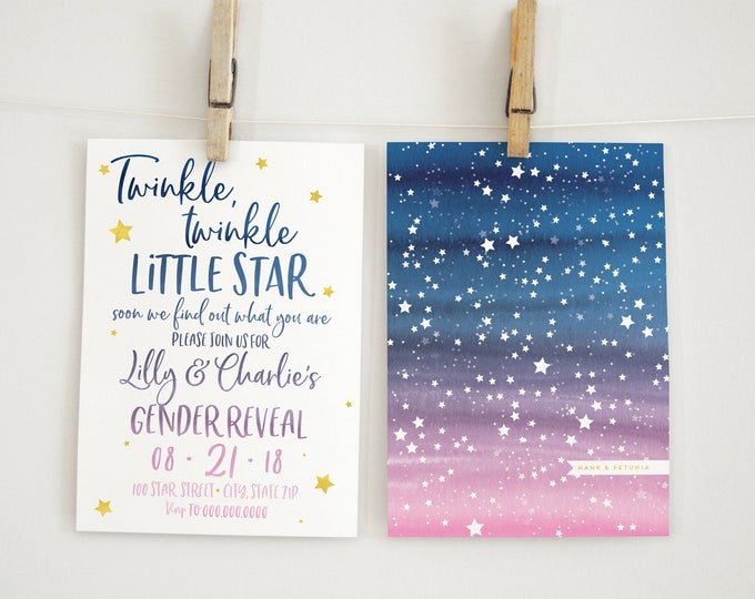 Little Star Gender Reveal Invitation, Gender Reveal Invitation, Lined Envelopes