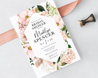 Blush Pink Floral Bridal Shower Invitation, Watercolor Floral Bridal Shower Invite, Bridal Shower Invite, Envelope Liner