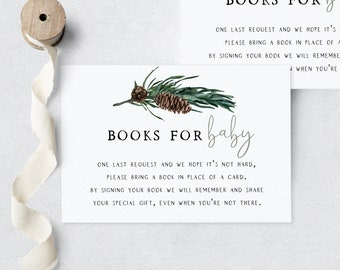 Oh Boy Pine Cone Baby Shower Book Request Insert Card, Pine Tree Let the Adventure Begin Books for Baby, Instant Download [id:5449418]