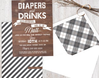 Diapers and Drinks Shower Invitation, Dad Baby Shower, Baby Shower Invitation, Baby Shower Invite for New Fathers, Lined Envelope