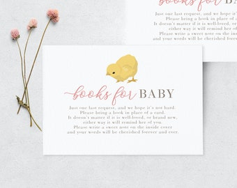 Cute Little Chick Baby Shower Book Request Insert Card, Books for Baby Insert Card, Instant Download [id:3944506]