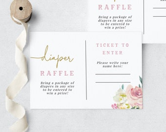 Baby in Bloom Floral Baby Shower Diaper Raffle Insert Card, In Full Bloom Baby Shower Diaper Raffle Ticket, Instant Download [id:6314521]