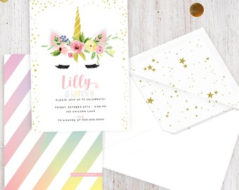 Unicorn Birthday Party Invitation, Unicorn Birthday Party, Rainbow Party, Lined Envelopes