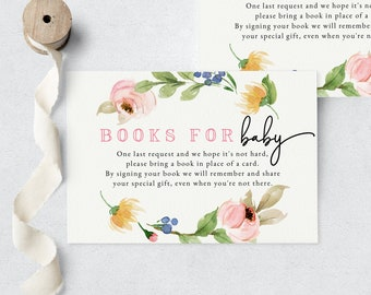 April Showers Bring May Flowers Baby Shower Book Request Insert Card, Spring Books for Baby Insert Card, Instant Download [id:6232657]