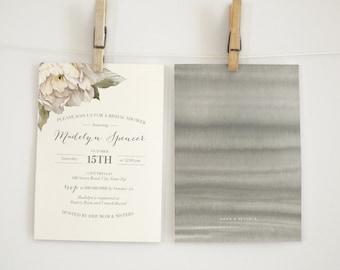 Watercolor Peony Bridal Shower Invitation
