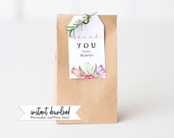 Spring Tulip Baby In Bloom Shower Favor Tag, Floral Baby Shower Gift Tags, Baby Girl Shower Favor Tag, Instant Download [id:5455325]