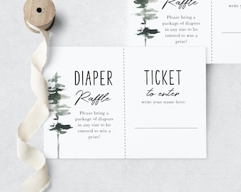 Let the Adventure Begin Woodland Baby Shower Diaper Raffle Insert Card, Pine Tree Diaper Raffle Template, Instant Download [id:3959437]