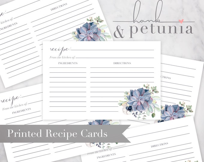 Boho Succulent Recipe Card Insert