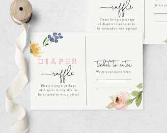 April Showers Bring May Flowers Baby Shower Diaper Raffle Insert Card, Spring Flower Diaper Raffle Ticket, Instant Download [id:6232862]