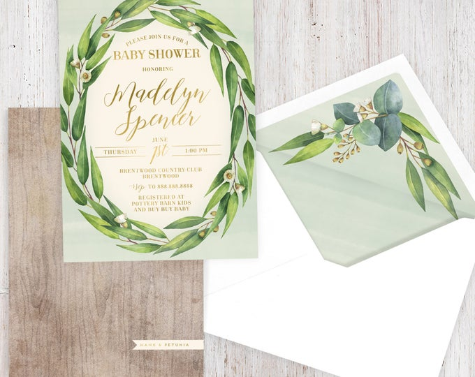 Eucalyptus Baby Shower Invitation, Gender Neutral Baby Shower, Floral Wreath Baby Shower Invite, Boy or Girl Shower Invite, Lined Envelopes