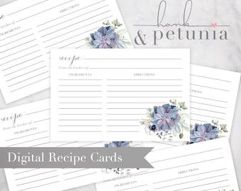 Boho Succulent Bridal Shower Recipe Card Insert