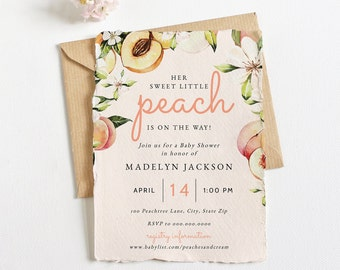 Sweet Little Peach Baby Shower Invitation, Peach Blossom Baby Shower Baby Shower Digital Invite Template, Instant Download [id:6066884]