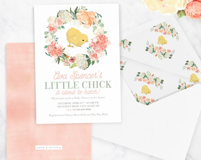 Spring Baby Shower Invitation, Little Chick Baby Shower Invitation, Springtime Baby, Easter Baby, Floral Invite, Envelope Liner
