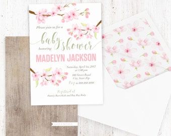 Blossom baby shower invitations etsy cherry blossom baby shower invitation watercolor floral baby shower spring baby shower invite baby girl shower invite lined envelope filmwisefo