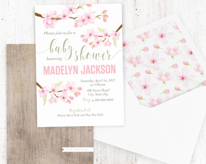 Cherry Blossom Baby Shower Invitation, Watercolor Floral Baby Shower, Spring Baby Shower Invite, Baby Girl Shower Invite, Lined Envelope