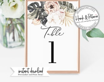 Boho Tropical Bridal Shower Table Numbers, Wedding Shower Table Numbers, Instant Download [id:2046224]