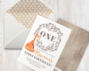 Watercolor Woodland Fox Birthday Party Invitation, Red Fox Birthday Invitation, Woodland Birthday Invite, Fall Birthday Invite