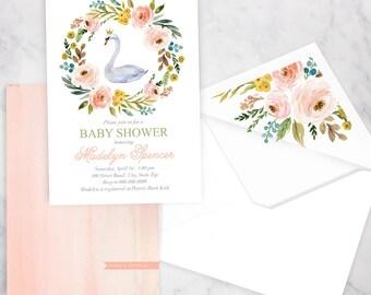 Swan Princess Baby Shower Invitation, Little Princess Baby Shower, Baby Shower Invitation, Baby Girl Shower Invite, Lined Envelope
