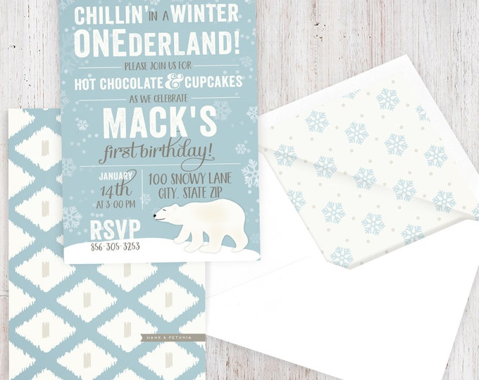 Winter Onderland Polar Bear Birthday Party Invitation, Winter Wonderland Party, First Birthday, Envelope Liner