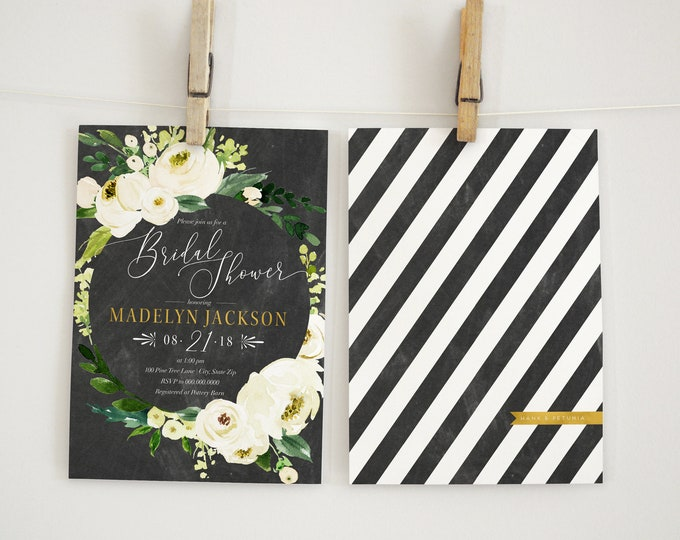 Watercolor Chalkboard Bridal Shower Invitation, Floral Chalkboard Bridal Shower Invitation, Bridal Shower Invite, Envelope Liner