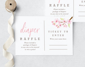Baby in Bloom Spring Cherry Blossom Diaper Raffle Insert Card, Spring Baby Shower Diaper Raffle Ticket, Instant Download [id:6326751]