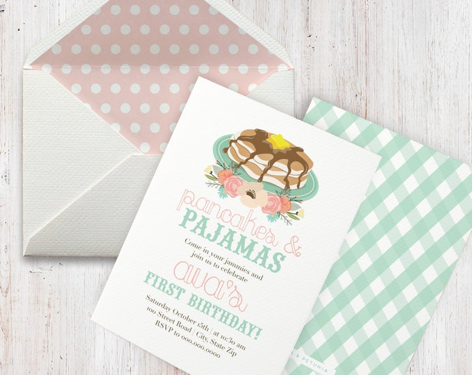 Pancakes & Pajamas Birthday Party Invitation, Pancakes and PJs Invitation, Birthday Invitation, Envelope Liner