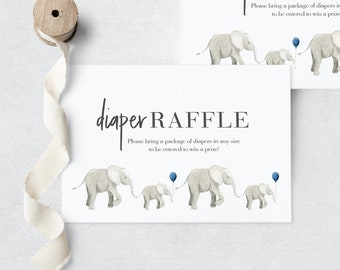 Little Peanut Elephant Baby Shower Diaper Raffle Insert Card, Instant Download [id:3938147]