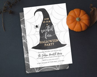 Witch Hat Halloween Party Invitation, Family Halloween Party Digital Invite Template, Witches Night Out Instant Download [id:4961568]
