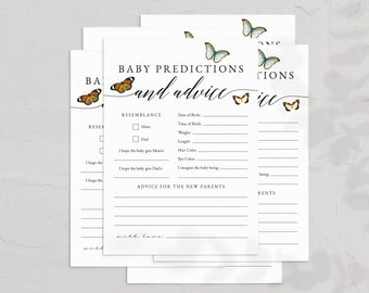 Butterfly Baby Shower Baby Predictions and Advice Card Template, Spring Butterflies Baby Shower Game Instant Download [id:6535429]