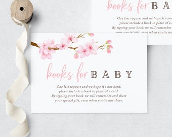 Baby in Bloom Spring Cherry Blossom Baby Shower Book Request Insert Card, In Full Bloom Books for Baby Insert, Instant Download [id:6302838]
