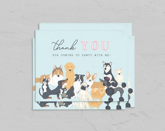 Puppy Party A2 Thank You Card, Dog Thank You Card, Customizable Note Card Instant Download [id:5959188]