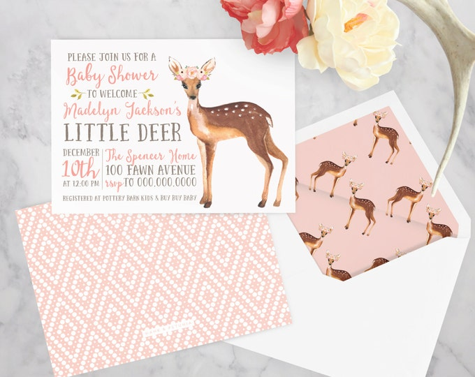 Little Deer Watercolor Baby Shower Invitation, Fawn Baby Baby Shower Invitation, Woodland Animal Baby Shower, Envelope Liner