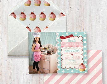 Bake Shoppe Birthday Party Invitation, Sweet Shoppe Invitation, Cupcake Party, Bakery Party, Photo Invite, Lined Envelopes