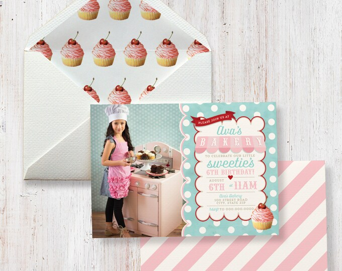 Bake Shoppe Birthday Party Invitation, Sweet Shoppe Invitation, Cupcake Party, Bakery Party, Photo Invite, Lined Envelopes