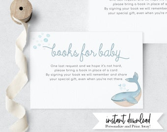 Little Whale Baby Shower Book Request Insert Card, Blue Whale Books for Baby Insert Card, Instant Download [id:4203793]
