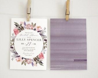 Boho Watercolor Peony Bridal Shower Invitation, Floral Bridal Shower Invitation, Bridal Shower Invite, Envelope Liner
