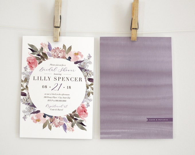 Boho Watercolor Peony Bridal Shower Invitation, Floral Bridal Shower Invitation, Bridal Shower Invite, Envelope Liner